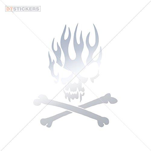 Vinyl Sticker Decals Flame Skull Design Si Sports Bike (3 X 2,42 In. ) Metallic Chrome Mirror
