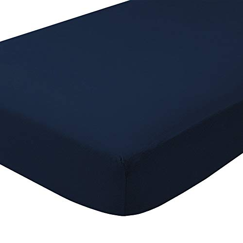 (Bare Home Flannel Fitted Bottom Sheet 100% Cotton, Velvety Soft Heavyweight - Double Brushed Flannel - Deep Pocket (Queen, Dark Blue))