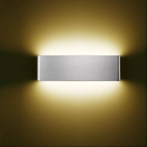 XIAJIA-12W LED Wall Light,Indoor Lamp,Long 30CM/11.8inch, Brushed Silver/Warm White