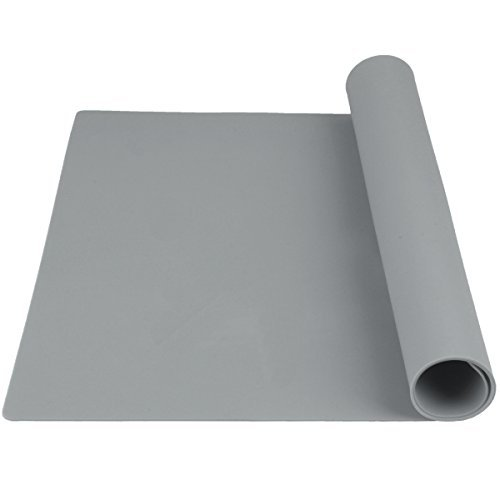 Bakingfun Large Silicone Baking Mat, Pastry Mat for Rolling Dough, Fondant Mat, Heat Resistant Table Mat Silicone Placemat, Countertop Protector, Pure Color, 23.6 inch 15.7 inch (Gray)