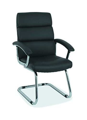 - HON Traction High-Back Modern Guest Chair - Leather Reception Chair, Black (HVL102)