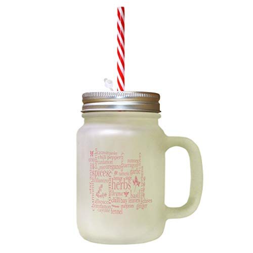 Soft Pink Herbs Thyme Dill Fennel Nutmeg Tarragon Tumeric Borage Sage Bay Lemon Uerbena Chives Ginger Frosted Glass Mason Jar With Straw