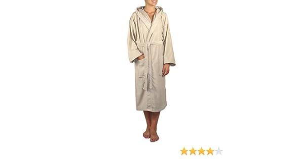 Atrivm Aurea Plus - Albornoz con capucha de terciopelo, 100% algodón, color Lino, talla M: Amazon.es: Hogar