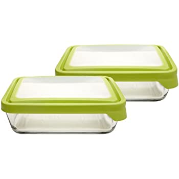 Anchor Hocking 11-Cup Rectangular Food Storage Containers with Green TrueSeal Lids, Set of 2