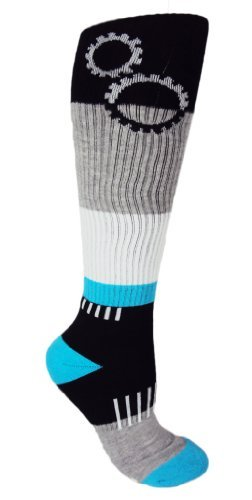 MOXY Socks Black and Blue ShiftGear Striped Knee-High Fitness Socks