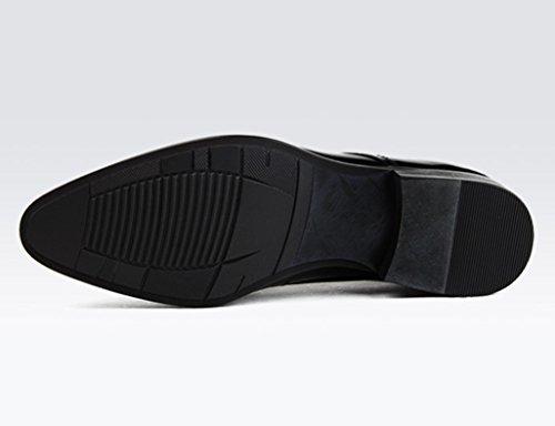 Clásicos Hombre Piel Negro Novia Para De Eu40 Brillante Estilo uk6 Con Negocios Encaje Zapatos Formal Boda 5 Tamaño Cuero Color Ropa dnWfBxqCw