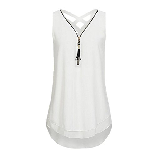 Han Shi Fashion Blouse, Women Summer Butterfly Appliqued Sweetheart Neck Tank Top (White, S)