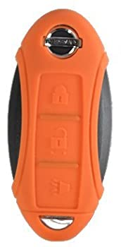 Silicone Key Fob Case Cover Fits Nissan 3 Button Remote Key Fob New (Orange)