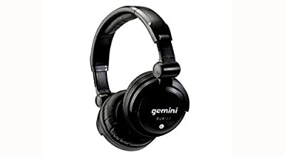 Gemini DJX Series DJX-03 Professional Audio Collapsible Lightweight DJ Headphones with 50mm High-Output Drivers and 4.5ft. Tangle-Free Cable, Black with Silver Accents