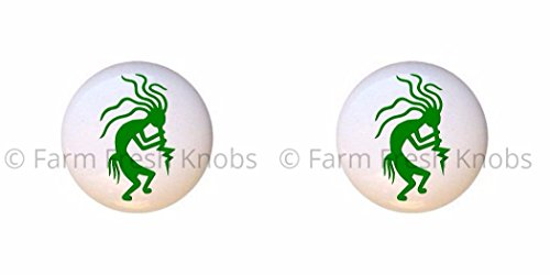 SET OF 2 KNOBS - Kokopelli Design #004 Green - Kokopelli Flute God - DECORATIVE Glossy CERAMIC Cupboard Cabinet PULLS Dresser Drawer (Kokopelli Cabinet Knob)