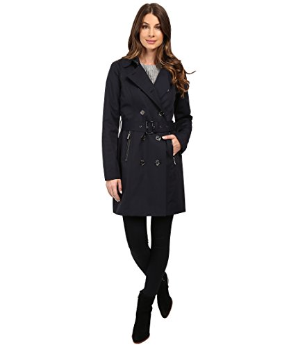 MICHAEL Michael Kors Double-Breasted Belted Trench with Removable Warmer M722325T Navy Women's Coat (Michael Kors Trench Coat)