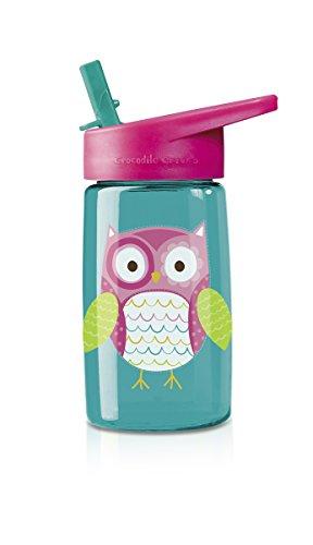 "Crocodile Creek Girls Eco Owl Flip Straw Tritan Drinking Bottle, Teal, 7"""