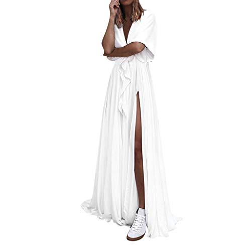 HebeTop ✰ Womens Party Beach Vacation Solid Loose High Slit Long Maxi Dress White