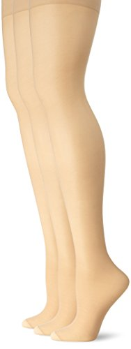 Nylon Sheer Pantyhose (L'eggs Women's Energy 3 Pack Control Top Reinforced Toe Panty Hose, Nude, B)