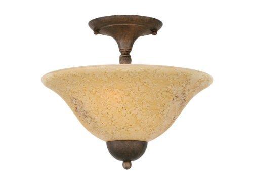 Marble Semi Flush - Toltec Lighting 120-BRZ-528 Two-Bulb Semi-Flush Mount Bronze Finish with Italian Marble Glass, 12-Inch by Toltec Lighting