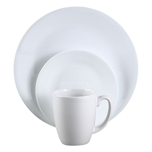 White Dinnerware Set 12-piece Dinner Plates Bowls Mugs Servi