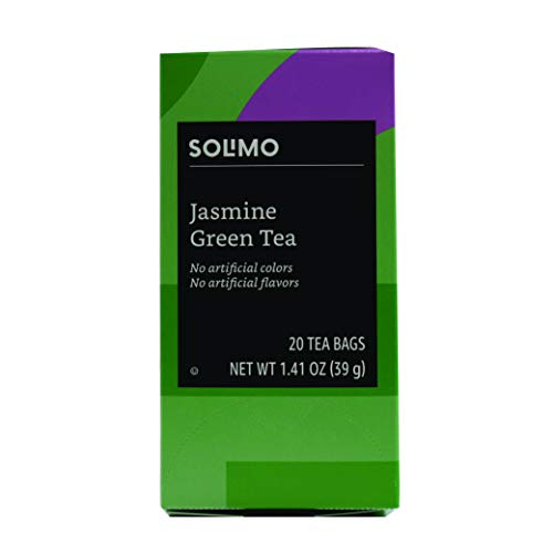 Amazon Brand - Solimo Jasmine Green Tea Bags, 20 Count