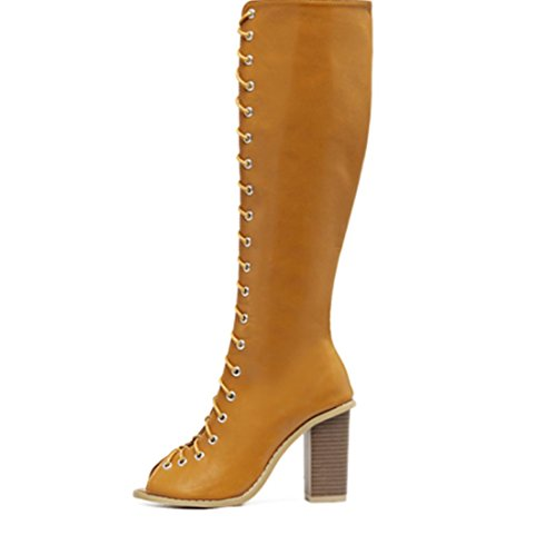 Retro Cinghie Hollow bocca dei pesci di massima Donne YCMDM'S con tacco alto scarpe di moda sandali Stivali singoli , light brown , 36