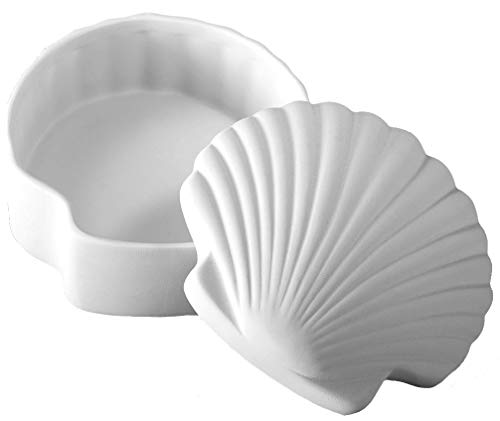 Creative Hobbies Scallop Shell Box, Case of 6, Unfinished Ceramic Bisque, with How to Paint Your Own Pottery Booklet