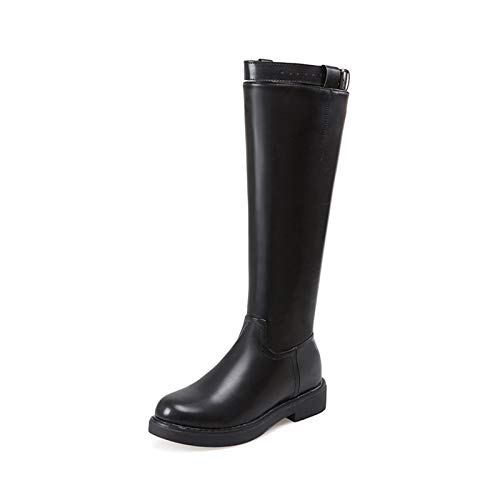 Shukun Stiefeletten Herbst und Winter hohe Stiefel mit dicken und dünnen Gürtelschnalle Aber Knie Stiefel Damen Stiefel mit mittlerem Absatz