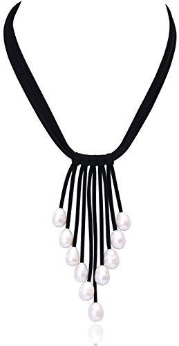 Pearl Freshwater Necklace Multi (Cultured Freshwater Pearl Pendant Necklace on Multi Strands Suede Cord Tassel Jewelry for Women by Aobei 18'' Black)