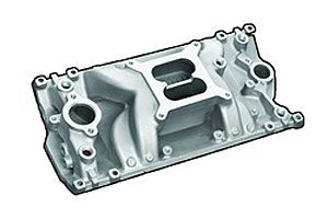 Professional Products 52028 Satin Crosswind Intake Manifold for Small Block Chevy - Crosswind Manifold Satin