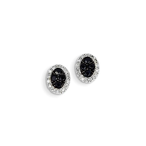 Top 10 Jewelry Gift 14K White Gold Diamond & Sapphire Oval Post Earrings