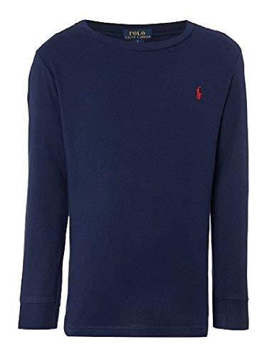 (Polo Ralph Lauren Men Long Sleeve Crewneck Pony Logo T-Shirt (X-Large, Navy/Red)
