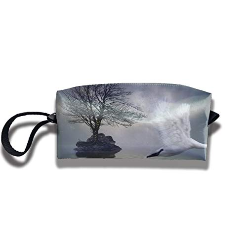 Cosmetic Bags With Zipper Makeup Bag White Swan Flying Middle Wallet Hangbag Wristlet Holder -