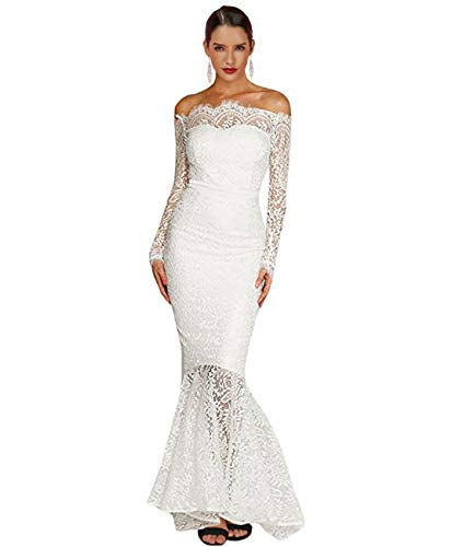 LALAGEN Women's Floral Lace Long Sleeve Off Shoulder Wedding Mermaid Dress White XXL