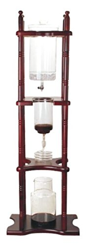 Iced Coffee Dripper Cold Brewer Maker Glass Wooden Stand 25 Cups