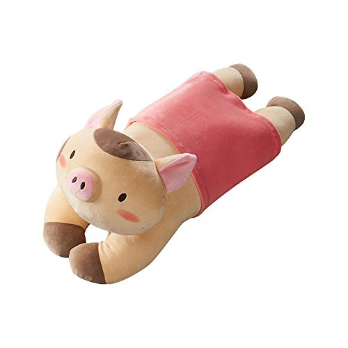 Microfiber Cushion Pillow Elastic Fleece Piglet Pillow Comfortable Microfiber Cute Pig (Color : Khaki)