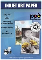 16.5' Fine Art Paper (PPD Inkjet Photo Rag Radiant White Paper A3 (11.7x16.5'') 72lbs 270gsm x 25 Sheets (PPD079-25))