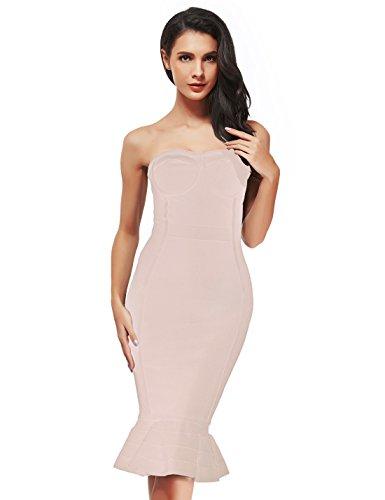 Strapless Bandage (Women's Elegant Bodycon Party Tube Dress - Rayon Bandage Strapless Fishtail Club Dress S718 (S, beige))