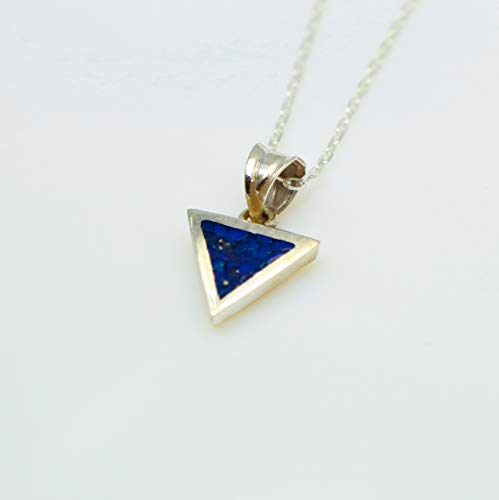 Triangle Lapis Lazuli Gemstone Mosaic Sterling Silver Necklace 16.1