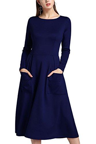 De Azul Manga Swing Bolsillo Mujer Elegante Ajuste Patchwork Cremallera La Larga Y Sólido Vestido De Acampanado Fiesta wqaE7fTRp