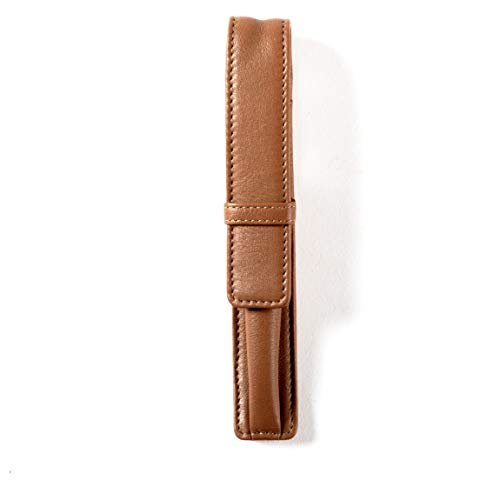 - Single Pen Case - Full Grain Leather - Cognac (brown)