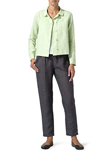 (Vivid Linen Cropped Shirt Jacket Pockets-L-Two Tone Light Green)