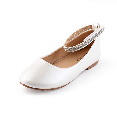 Nova Utopia Toddler Little Girls Dress Ballet Ankle Strap Flat Shoes,NF Utopia Girl NFGF317 White 1 -