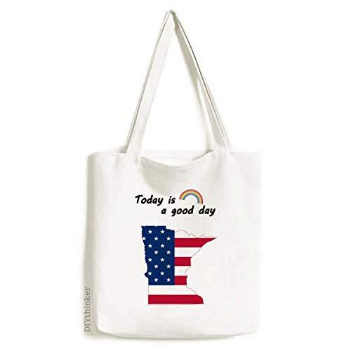Minnesota USA Map Stars Stripes Flag Shape Tote Canvas Bag Craft Washable Fashion Shopping Handbag