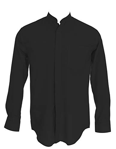 Sunrise Outlet Men's Collarless Banded Collar Dress Shirt - Black 16.5 34-35