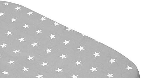 Chicco Next2Me /& Lullago Drap-housse 2 draps-housses Fabriqu/é en Europe prot/ège-matelas imperm/éables 100 /% coton certifi/é Oeko-Tex Lot de 3 /étoiles blanches et grises, dimensions 83 x 50 x 5 cm