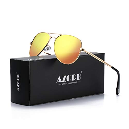 AZORB Polarized Aviator Sunglasses Mirrored Lens Metal Frame for Men Women, 100% UV 400 Protection (Gold Frame/Red Mirrored)