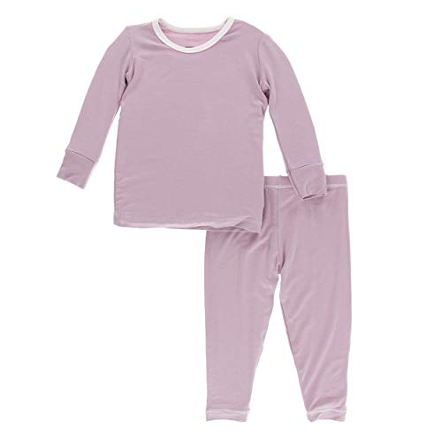 Kickee Pants Little Girls Solid Long Sleeve Pajama Set - Sweet Pea with Natural, 5 Years