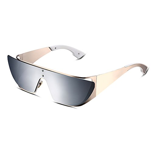 Aviator Sunglasses Two Tone Mirror Lens One Piece Polarized For Women Ladies - Axis Eyewear