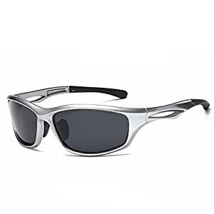 Laura Fairy Polarized Sports Sunglasses TR90 Silver Unisex Running Cycling Fishing (silver grey)