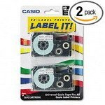 Casio - Tape Cassettes For Ez-Label Printers, 1/2, Black/White, 2/Pack Csoxr12We2S