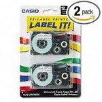 Casio - Tape Cassettes For Ez-Label Printers, 1/2, Black/White, 2/Pack Csoxr12We2S by Casio