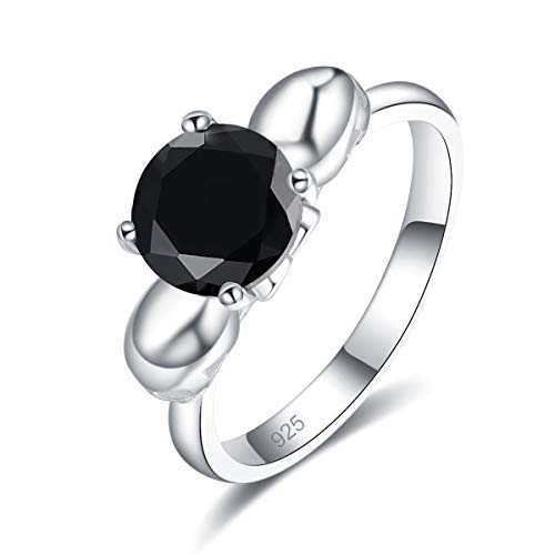 Narica Women's 925 Sterling Silver Filled Round Cut Black Spinel Promise Proposal Engagement Wedding Rings Size 8 ()