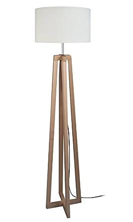 Tosel Aulne 50906 Lámpara de pie, madera y acero, 60 W, E27 ...